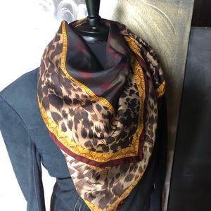 Carlisle Accessories - VTG - Carlisle Silk Scarf Leopard & Plaid Print